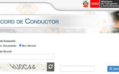 CONSULTAR RECORD DEL CONDUCTOR